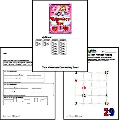 Kindergarten Valentine's Day Worksheets Activity Book (more challenging)