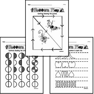 Prewriting Mixed Math PDF Workbook for Kindergarten