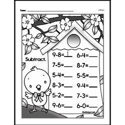 Kindergarten Subtraction Worksheets Worksheet #1