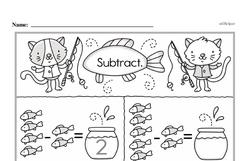 Kindergarten Subtraction Worksheets Worksheet #10