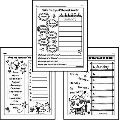 Kindergarten Time Worksheets Worksheet #3