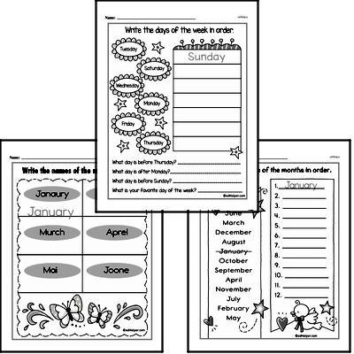 Kindergarten Time Worksheets Worksheet #4