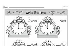 Kindergarten Time Worksheets Worksheet #8