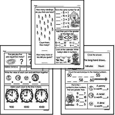 Time Mixed Math PDF Workbook for Kindergarten