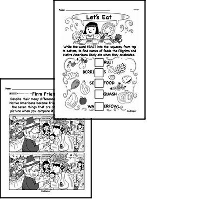 Kindergarten Pilgrims and Native Americans Math and Puzzles Workbook