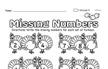 Kindergarten Thanksgiving Math Challenge Workbook