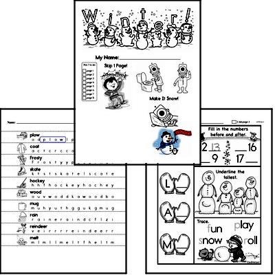 Kindergarten Winter Activity No Prep Workbook Worksheets