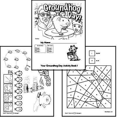Preschool Groundhog Day Worksheets Activity Book (more challenging)
