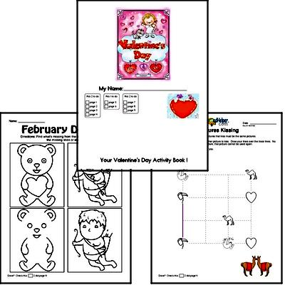 Preschool Valentine's Day Worksheets Activity Book