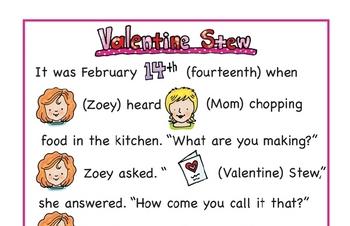 Valentine Stew Quick Reading Comprehension Printable