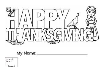 Preschool Thanksgiving Activity Workbook