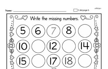 Preschool Valentine's Day Math Challenge Workbook