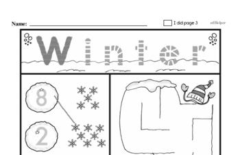 Preschool Winter Activity No Prep Workbook Worksheets