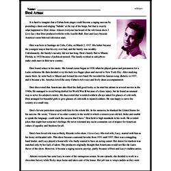 Print <i>Desi Arnaz</i> reading comprehension.