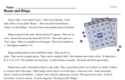 Print <i>Beans and Bingo</i> reading comprehension.