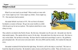 Print <i>Shipwrecked</i> reading comprehension.