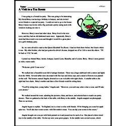 Print <i>A Visit to a Tea Room</i> reading comprehension.