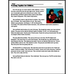 Print <i>Working Together for Children</i> reading comprehension.
