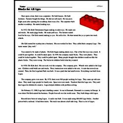 Print <i>Blocks for All Ages</i> reading comprehension.
