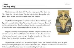 Print <i>The Boy King</i> reading comprehension.