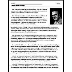 Print <i>Luis Walter Alvarez</i> reading comprehension.