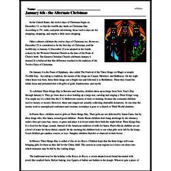 Print <i>January 6th - the Alternate Christmas</i> reading comprehension.