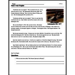 Print <i>Start Your Engine</i> reading comprehension.