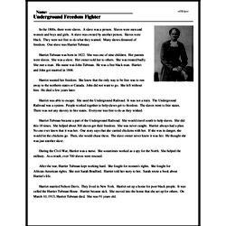 Print <i>Underground Freedom Fighter</i> reading comprehension.