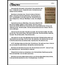 Print <i>A Talking Horse</i> reading comprehension.