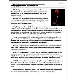 Print <i>Biography of Johann Sebastian Bach</i> reading comprehension.
