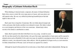 Johann Sebastian Bach<BR>Biography of Johann Sebastian Bach