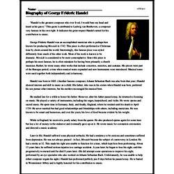 Print <i>Biography of George Frideric Handel</i> reading comprehension.