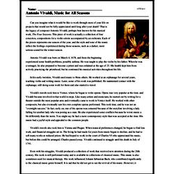 Print <i>Antonio Vivaldi, Music for All Seasons</i> reading comprehension.
