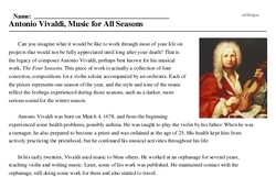 Antonio Vivaldi<BR>Antonio Vivaldi, Music for All Seasons