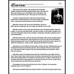 Print <i>The Arctic Traveler</i> reading comprehension.