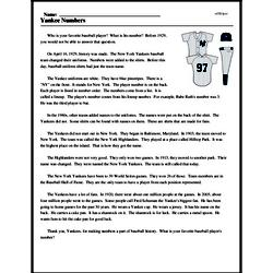 Print <i>Yankee Numbers</i> reading comprehension.