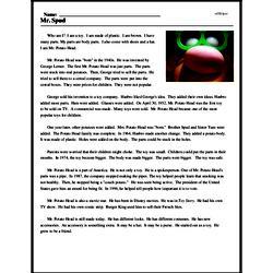 Print <i>Mr. Spud</i> reading comprehension.