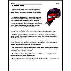Print <i>The Wonder Tunnel</i> reading comprehension.