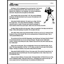 Print <i>Johnny Unitas</i> reading comprehension.