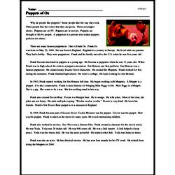 Print <i>Puppets of Oz</i> reading comprehension.