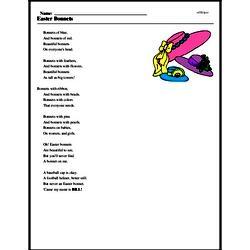 Print <i>Easter Bonnets</i> reading comprehension.
