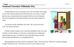 Print <i>National Chocolate Milkshake Day</i> reading comprehension.