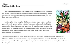 Print <i>Positive Reflections</i> reading comprehension.