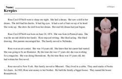 Print <i>Kewpies</i> reading comprehension.