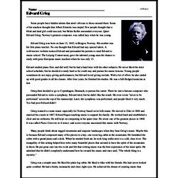 Print <i>Edvard Grieg</i> reading comprehension.