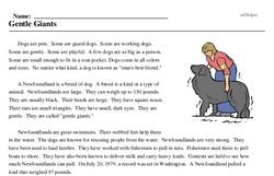 Print <i>Gentle Giants</i> reading comprehension.
