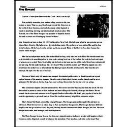 Print <i>Moe Howard</i> reading comprehension.