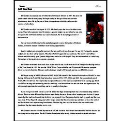 Print <i>Jeff Gordon</i> reading comprehension.