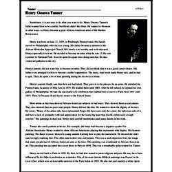 Print <i>Henry Ossawa Tanner</i> reading comprehension.