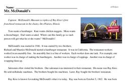 Print <i>Mr. McDonald's</i> reading comprehension.
